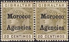 Morocco Agencies 1898 QV 20c Olive-Green with Inverted V for A Variety Pair MH