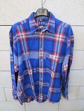 Chemise SERGE BLANCO Quinze 15 rugby bleu carreaux XL manches longues