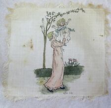 Victorian Silk Print after Kate Greenaway (Mother Holding Child in Air)