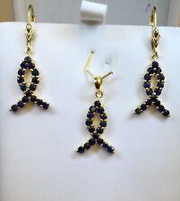 14k Solid Gold Ribbon Dangle Set Leverback Earrings Pendant, Natural Sapphire.