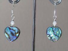 Abalone Shell Hearts & Swarovski Crystal Elements Drop Sterling Silver Earrings