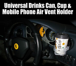 Drink Can Coffee Cup & Mobile Phone Car Air Vent Holder. Cooler & Keep Warm Hot