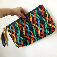 Vintage Straw Grosgrain Colorful Wristlet Clutch Bag