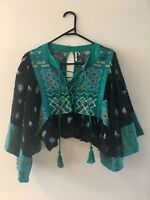 Free People Black Cropped Floral Embroidered Boho Peasant Top Blouse