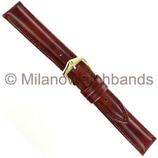 16mm Hirsch Ascot Tan Brown Genuine Leather Padded Stitched Mens Watch Band