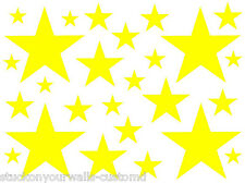 52 YELLOW STARS VINYL GIRL BEDROOM WALL DECALS STICKERS Teen Baby Girl Nursery