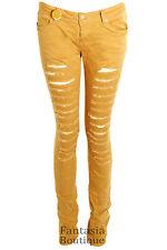 Ladies Coloured Denim Slim Skinny Ripped Effect Women's Trousers Jeans 8-14