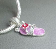 NEW Red & Purple Flip Flop Shoe Charm with Europeon Slider Hat Lady Society