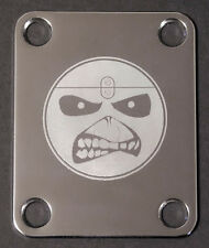 Engraved Photo Etched GUITAR NECK PLATE - IRON MAIDEN Eddie Smiley Face