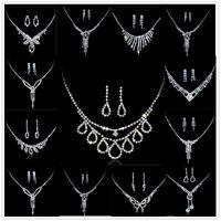 Elegant Wedding Bridal Party Rhinestone Crystal Necklace Earring Jewelry Sets