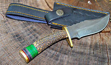 "8"" HANDMADE DAMASCUS STEEL HUNTING BOWIE KNIFE DEER ANTLER HANDLE Factory Second"