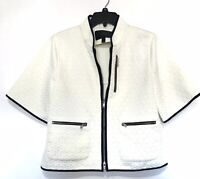 J. Crew Cropped Matelasse Blazer Jacket Quilted Large Ivory White Navy Blue