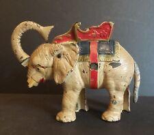 WONDERFUL ANTIQUE CAST IRON ELEPHANT MECHANICAL BANK, ORIGINAL PAINT
