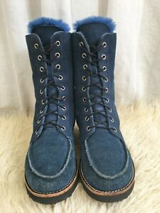 Yellow Earth Lace Up Sheepskin Boots, Blue  - Ladies Size 38.5 (7.5) - RRP$249