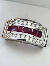 1.78 CT 14k Solid White Gold Mens Men's Man Natural Diamond Princess Ruby Ring