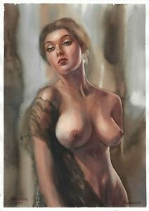 original painting А3 271SA art by samovar Realism female nude watercolor Signed