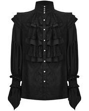 Punk Rave Mens Gothic Shirt Top Black Steampunk VTG Regency Aristocrat Lace