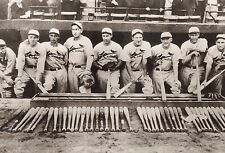 ST LOUIS CARDINALS GAS HOUSE GANG AT THE BAT RACK BEFORE GAME FOR A TEAM PHOTO