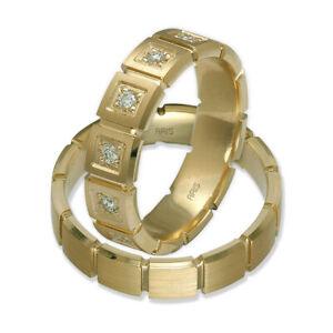 2 Gold Eheringe Trauringe Partnerringe aus 585er/-14 kt Gelbgold mit Diamanten