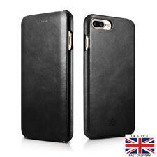 Novada iPhone 7 Plus Case Genuine Leather Flip Cover Vintage Collection Black