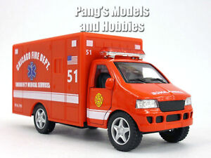 5 inch Chicago Fire Deptartment (Red) Ambulance Model by Kinsfun