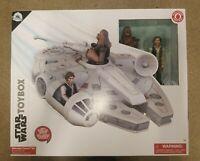 NIP Disney Store Star Wars Toybox Millenium Falcon Playset w/Han Solo & Chewie!