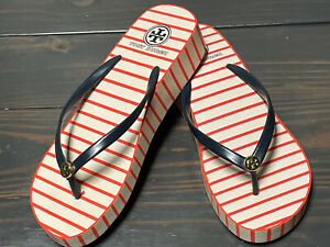 Authentic Tory Burch Wedge Flip Flop Sandals Thong Size 9 Red White Blue Stripe