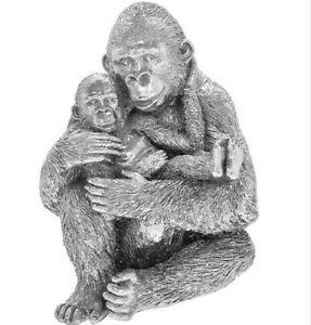 Gorilla & Baby Silver Art Stunning Ornament Ape Monkey 23cm Figure Present Gift