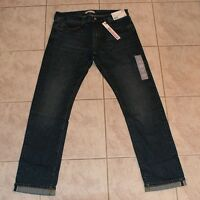 Uniqlo Selvedge Denim Men's Low Rise Slim Straight Jeans Medium Wash NEW 34x32