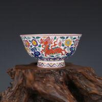 Fine Chinese Qianlong old antique Porcelain famille rose kylin tea cup bowl