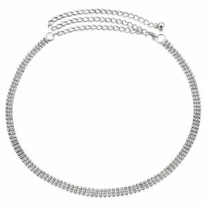 3 Row Diamond 8mm Women Ladies Chain Belts Silver with Space Apart One Size UK