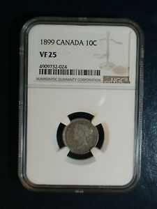 1899 Canada Ten Cents NGC VF25 10C SILVER COIN PRICED TO SELL NOW!