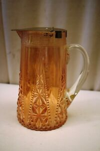 """Vintage Beaded Spears And Variant Jain Carnival Glass Jug With Lid Art Deco Old"""""""