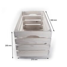 Extra Large WHITE Wooden Storage Crate /Display Bookcase Shelving Box/55x27x25cm