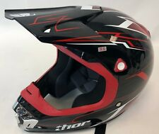 THOR Red Black Pinstripe Quadrant Motorcycle Dirt Bike ATV MX Visor Helmet XS