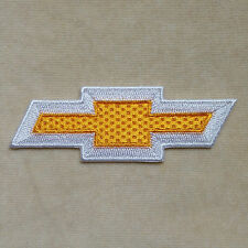 CHEVROLET CHEVY CAR LOGO EMBROIDERY IRON ON PATCH BADGE #YELLOW WITH WHITE
