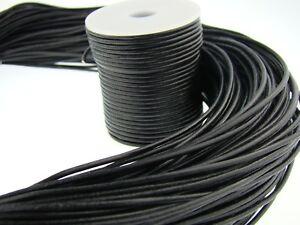 Lederschnur (ab 0,43€/m) Rund 2 mm. Schwarz. Lederband. Länge: wählbar