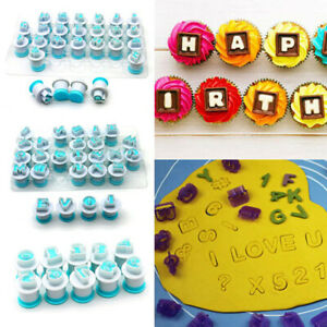 Numbers Alphabet Letters A-Z Fondant Stamp Cake Mold DIY Embossing Cookie Mould
