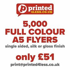 5000 A5 FLYERS SINGLE SIDED PRINTED FULL COLOUR 135GSM 130 A5 A6 LEAFLET FLIER