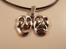 Cord pendant Necklace antique silver Comedy Tragedy Happy Sad Theatre Mask
