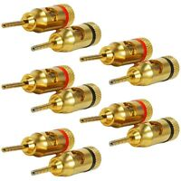 10 Pcs Banana Plug Audio Speaker Cable Wire Connector Pin Screw 24K Gold Plated