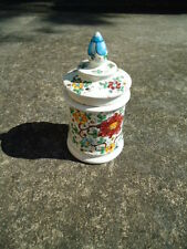 Vintage Ceramic Round Flowered Jar with Pointed Top 5 ½ Inches Tall x 3 Inches D