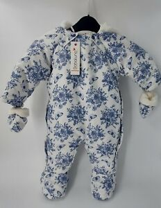 Babaluno Baby Girl Snowsuit 3-6 Months Navy cream Floral Butterfly Cosy