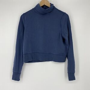 Athleta Shirt Size XS Petite Blue Cropped Funnel Neck Top Nirvana Travel Commute