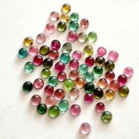 100% Natural 3 mm Multi Color Tourmaline Round Cabochon Loose Gemstone
