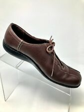 Clarks Brown Leather Lace-up Oxfords Bicycle Toe Shoes 84706 Women 9M
