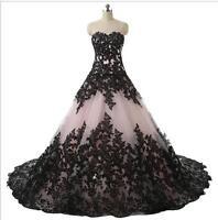 New Black Lace Sweetheart Wedding Dress Bridal Gown Custom Size:6 8 10 12 14 16+