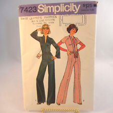 1970's Jumpsuit and Ribbon Bag Pattern Size 12 Simplicity 7423 Printed In 1976
