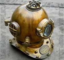 """Antique Brass London Navy Mark Vl Vintage 18"""" Scuba Sea Diving Divers Helmet SCA"""