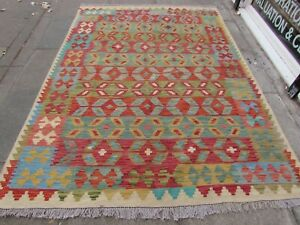 Vintage Kilim Traditional Hand Made Oriental Blue Red Wool Kilim Rug 240x173cm